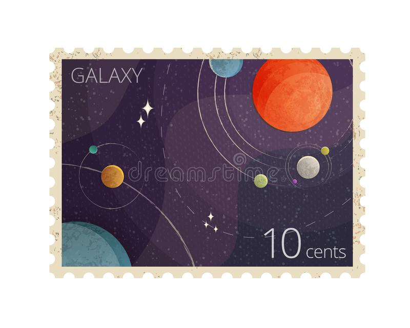 Vektorillustrationen av stämpeln för tappningutrymmeporto med planeter visar det Heliocentric systemet som isoleras på vit bakgru royaltyfri illustrationer