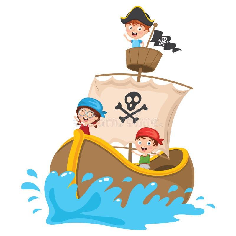 Vektorillustrationen av tecknad filmungar piratkopierar skeppet royaltyfri illustrationer