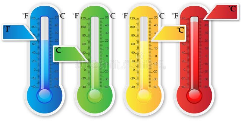 Termometern som är pappers- med, undertecknar vektor illustrationer