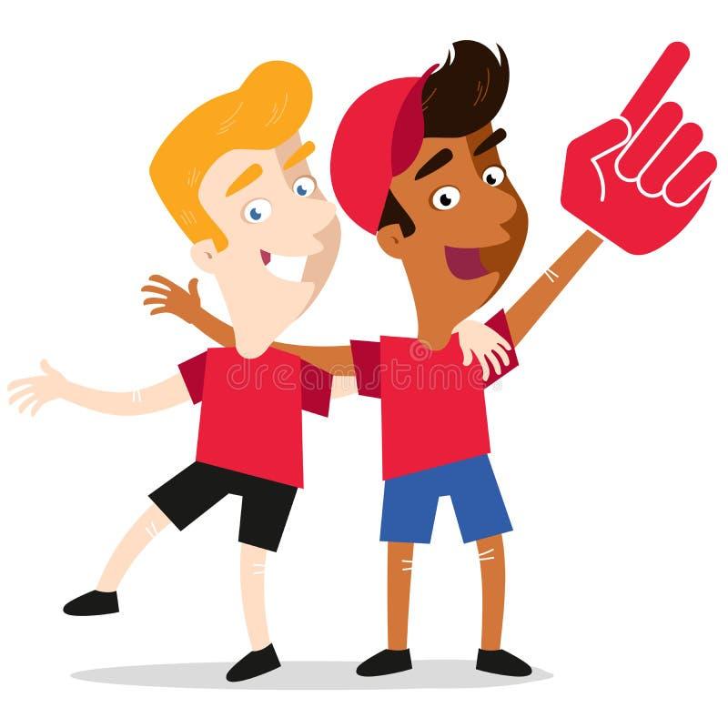 Vektorillustrationen av två unga sportfans i röda skjortor som bär skum, räcker att rota för deras lag som isoleras på vit bakgru vektor illustrationer