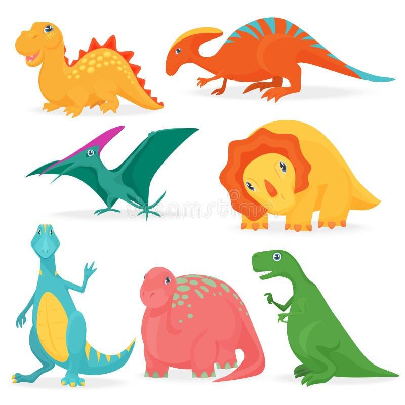 Vektorillustrationen av uppsättningen av förtjusande ljusa dinosaurier Gullig tecknad filmdino samling royaltyfri illustrationer