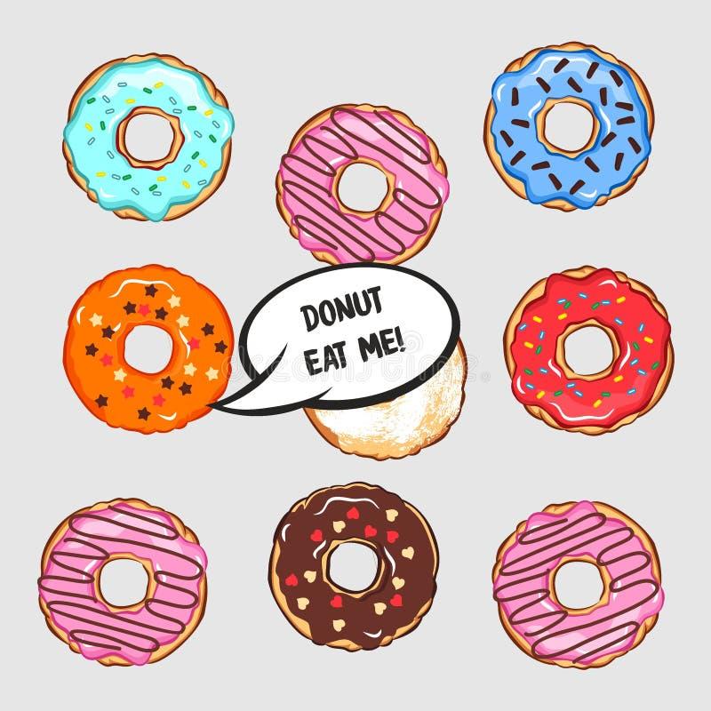 Vektorillustrationen av uppsättningen av kulöra donuts med det komiska molnet och bokstävermunken äter mig royaltyfri illustrationer