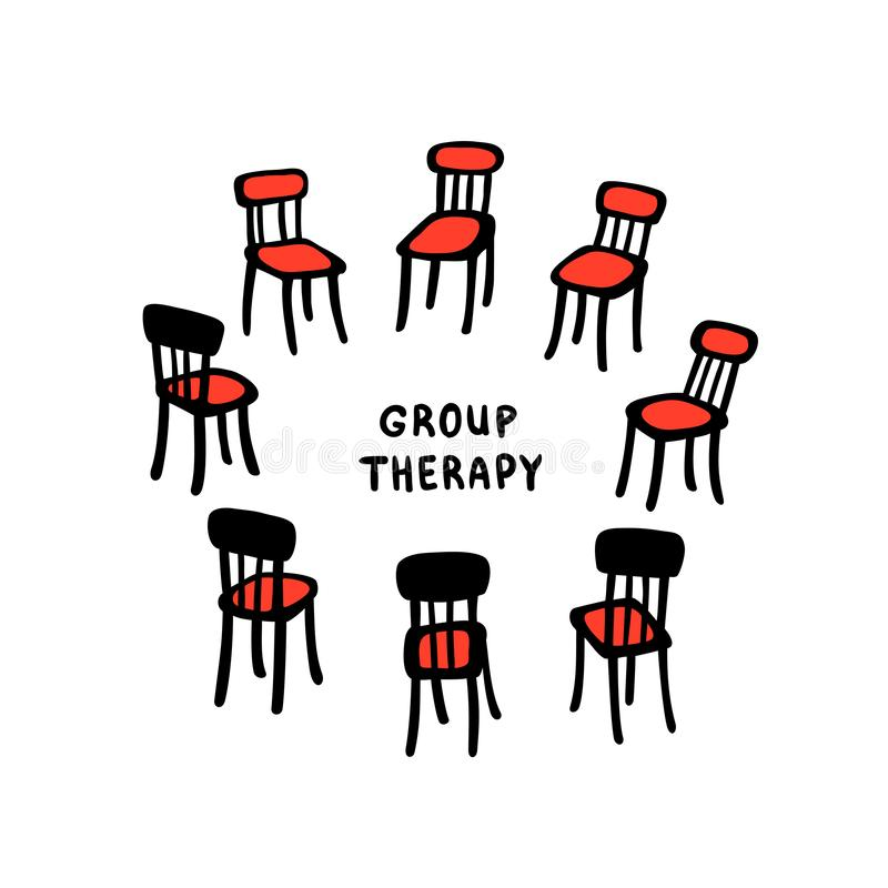 Vektorillustrationen av utdragna stolar för handen ordnade i en cirkel Härlig illustration av en gruppterapiprocess royaltyfri illustrationer