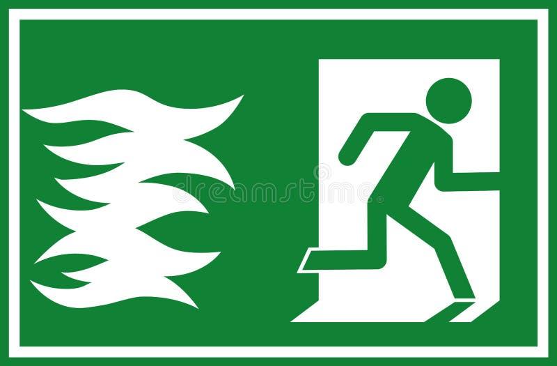 Vektorillustrationen - avfyra tecknet för den nöd- utgången, flyende flammaho för person en dörr royaltyfri illustrationer