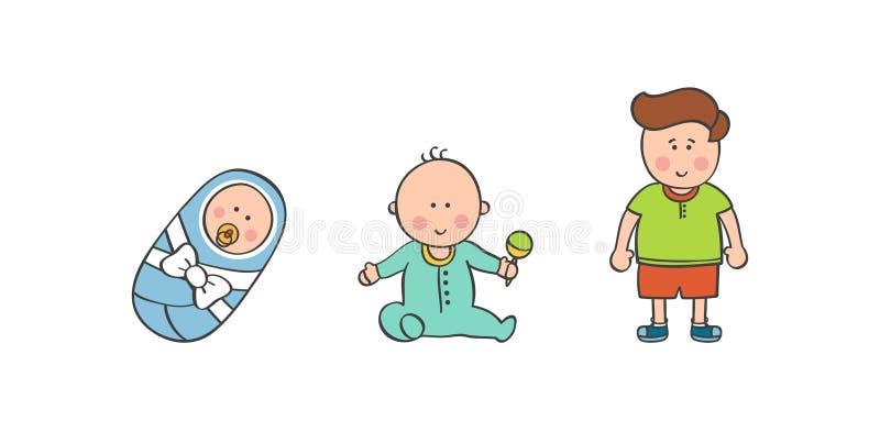 Vektorillustrationen behandla som ett barn pojkeåldrar arkivbild