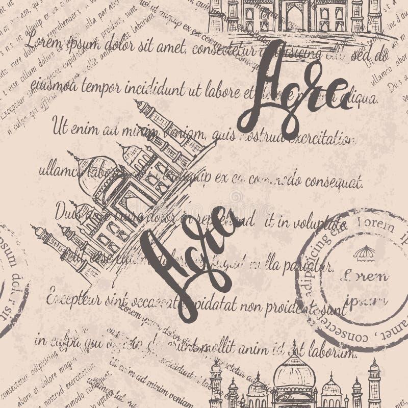 Vektorillustrationen, den Agra etiketten med handen som drogs Taj Mahal som märker Agra, bleknade text stock illustrationer
