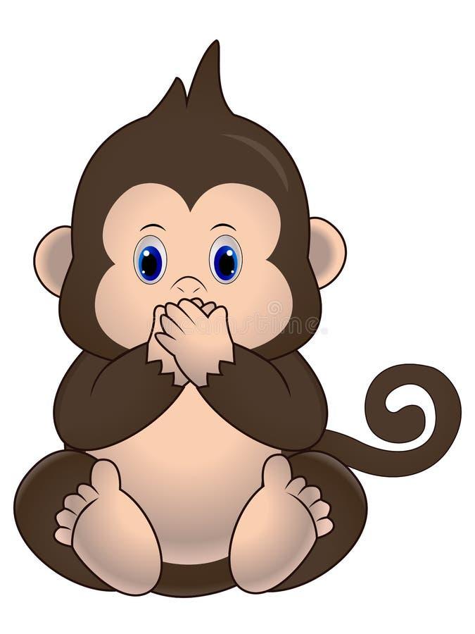 Vektorillustrationen, den gulliga lilla apan sitter och stänger hans mun royaltyfri illustrationer