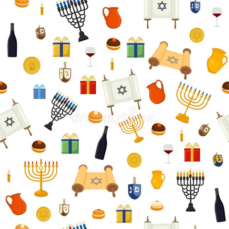 Vektorillustrationen för Chanukkah är stor judisk ferie vektor illustrationer
