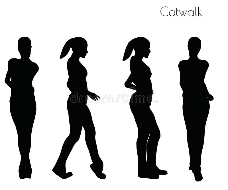 Vektorillustrationen för EPS 10 av kvinnan i Catwalk poserar på vit bakgrund royaltyfri illustrationer