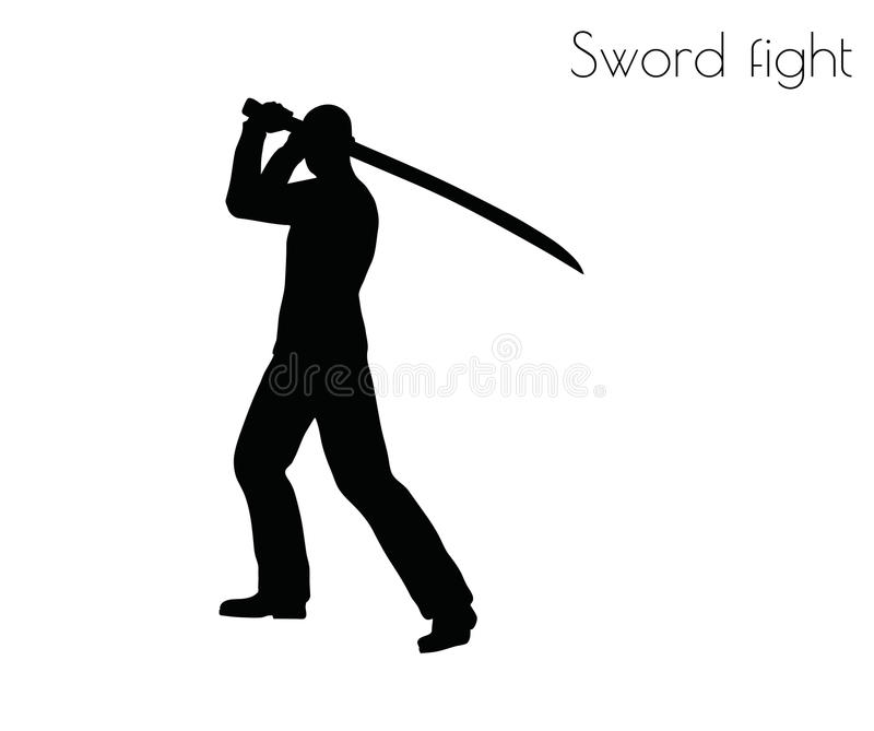 Vektorillustrationen för EPS 10 av mannen i swordfighthandling poserar på vit bakgrund royaltyfri illustrationer