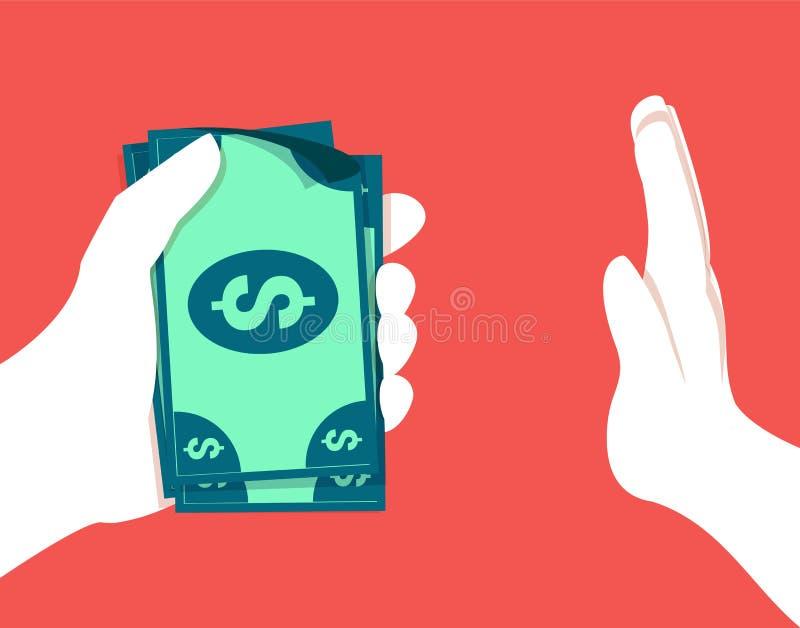 Vektorillustrationen i plan stil och röd färg för stoppar korruptionbegrepp Hand som kontant ger mutan vektor illustrationer