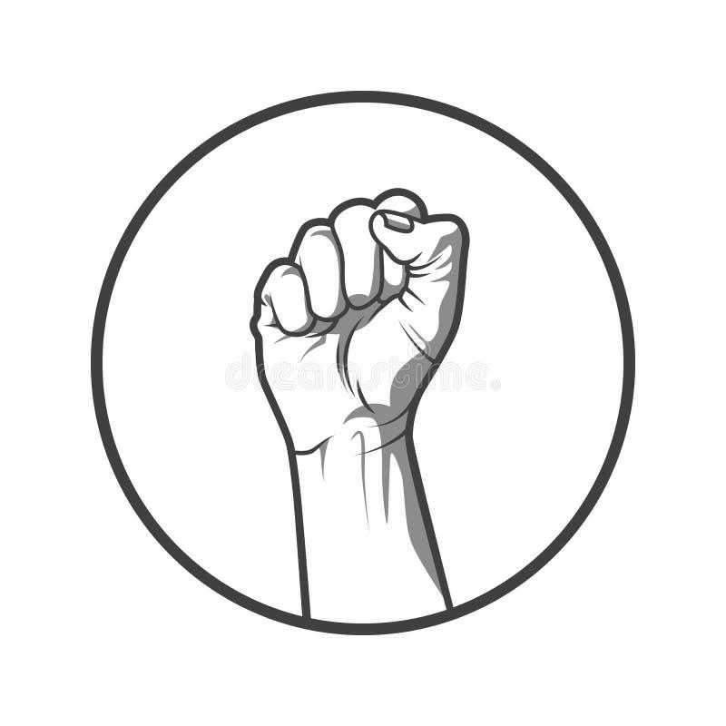 Vektorillustrationen i svartvit stil av en gripen hårt om näve rymde höjdpunkt i protest stock illustrationer