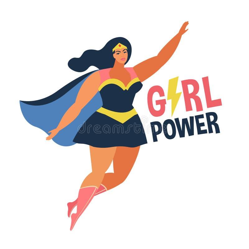 Vektorillustrationen im flachen Entwurf des weiblichen superheroe im lustigen Comicskostüm Mädchenenergiekonzept lizenzfreie abbildung