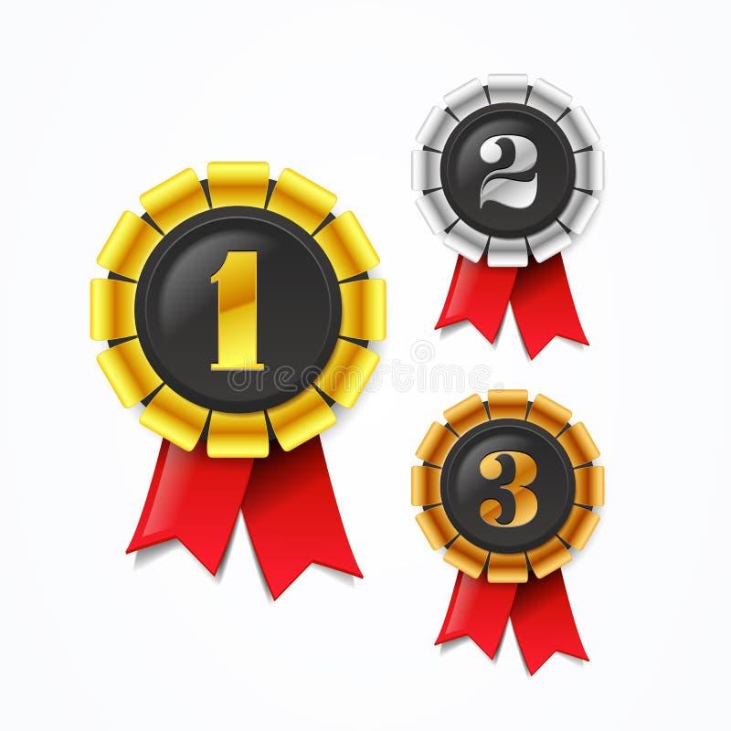 Vektorillustrationen kämpar för guld-, silver- och bronsutmärkelsemedaljer med det röda bandet royaltyfri illustrationer