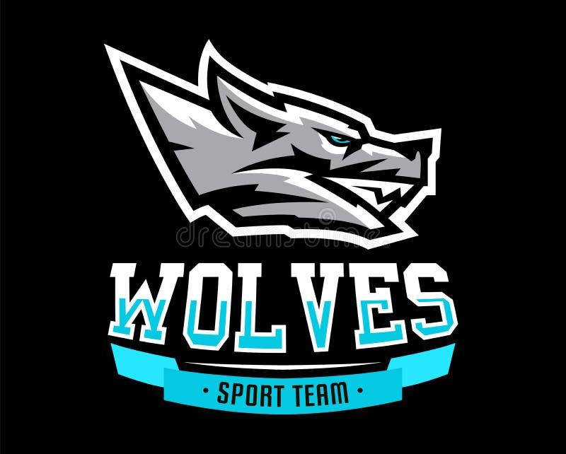 Vektorillustrationen, logoen, identiteten för sportklubban, samhälle, grinar av den aggressiva vargen, en rovdjur som är klar att vektor illustrationer