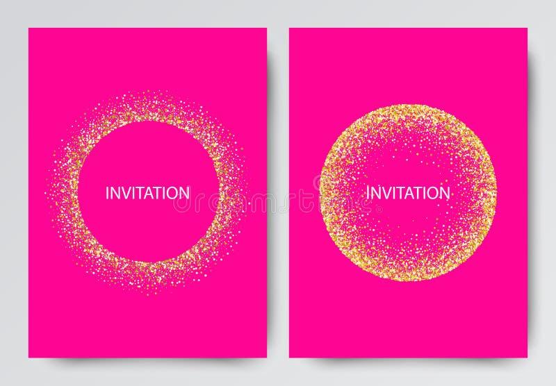 Vektorillustrationen många guld- skinande blänker konfettier på rosa mall för bakgrundsabstrakt begreppbakgrund vektor illustrationer