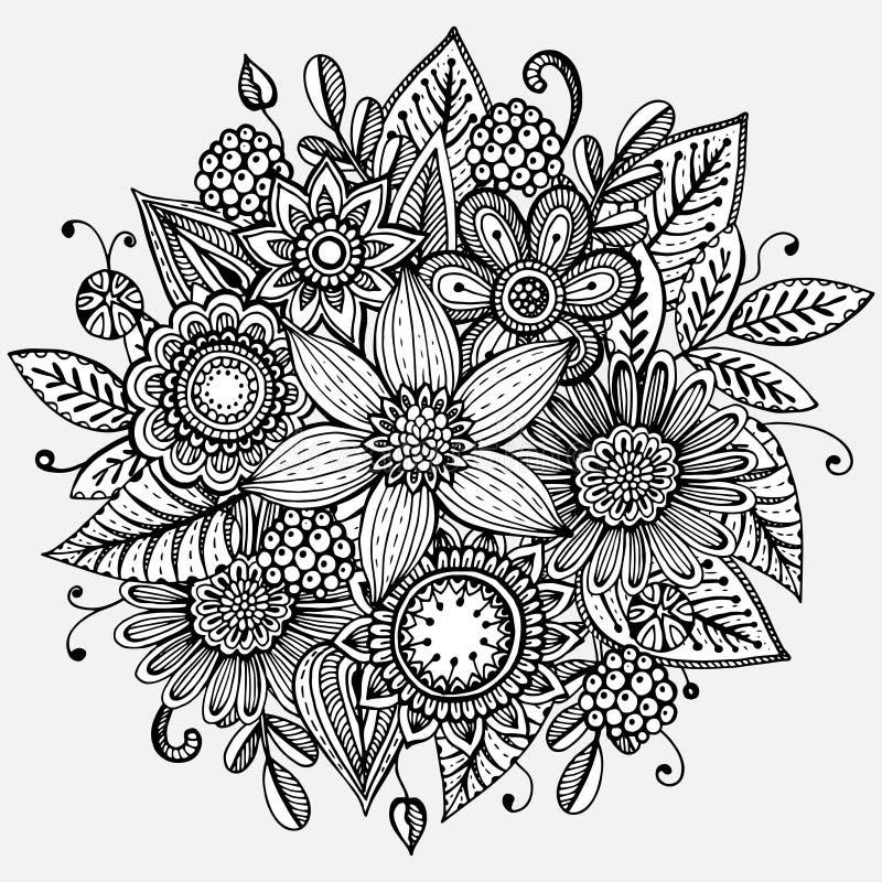 Vektorillustrationen med den drog handen blommar buketten stock illustrationer
