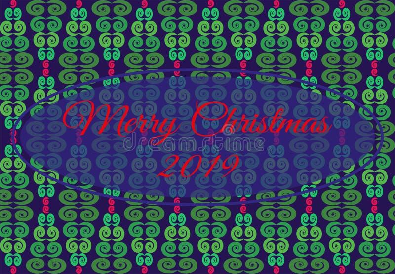 Vektorillustrationen med den geometriska modellen från julgranen av gräsplan som är röd, blått blommar entral ram med glad jul fö stock illustrationer