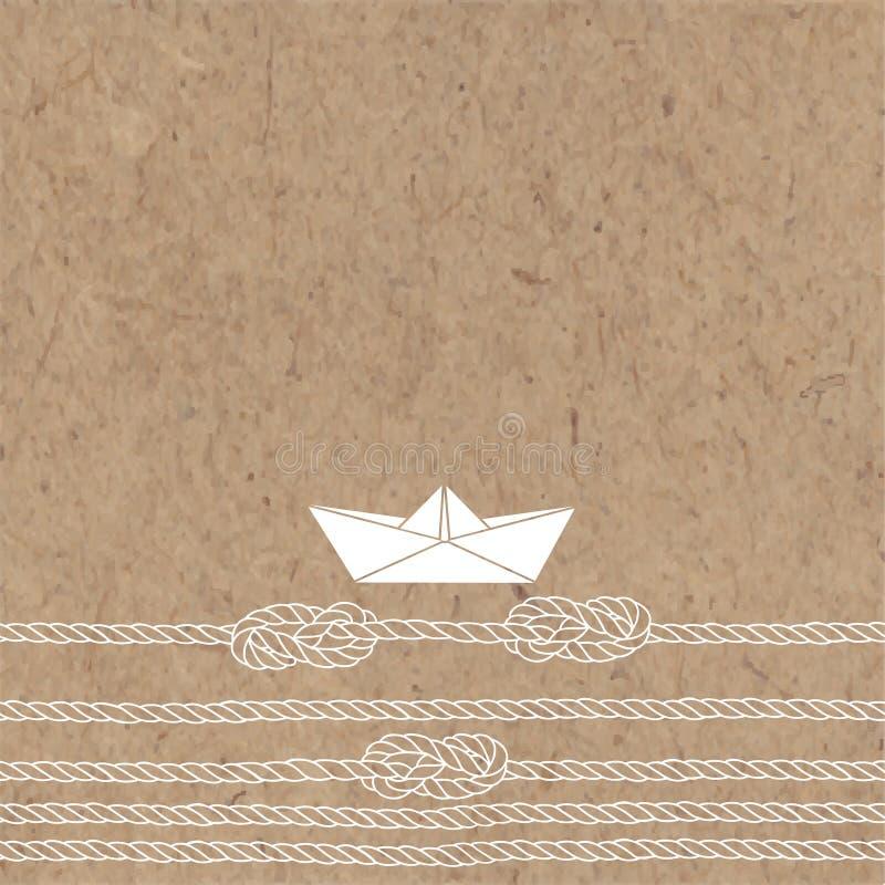 Vektorillustrationen med det pappers- fartyget, havet ropes, fnuren och stället för text på en kraft bakgrund royaltyfri illustrationer