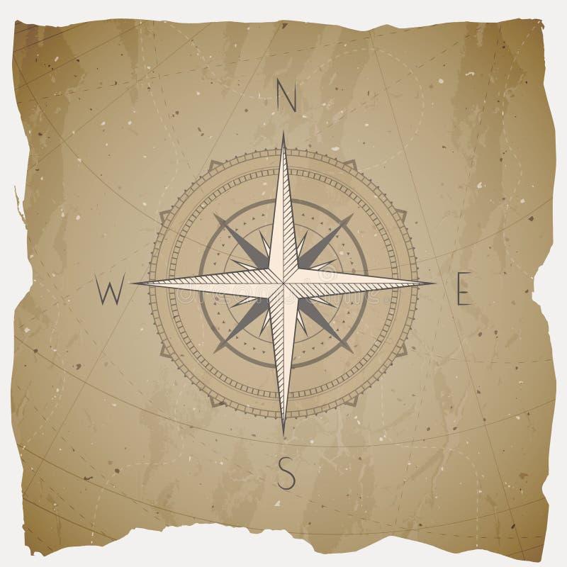 Vektorillustrationen med en tappningkompass eller vind steg på grungebakgrund Med grundläggande riktningar stock illustrationer