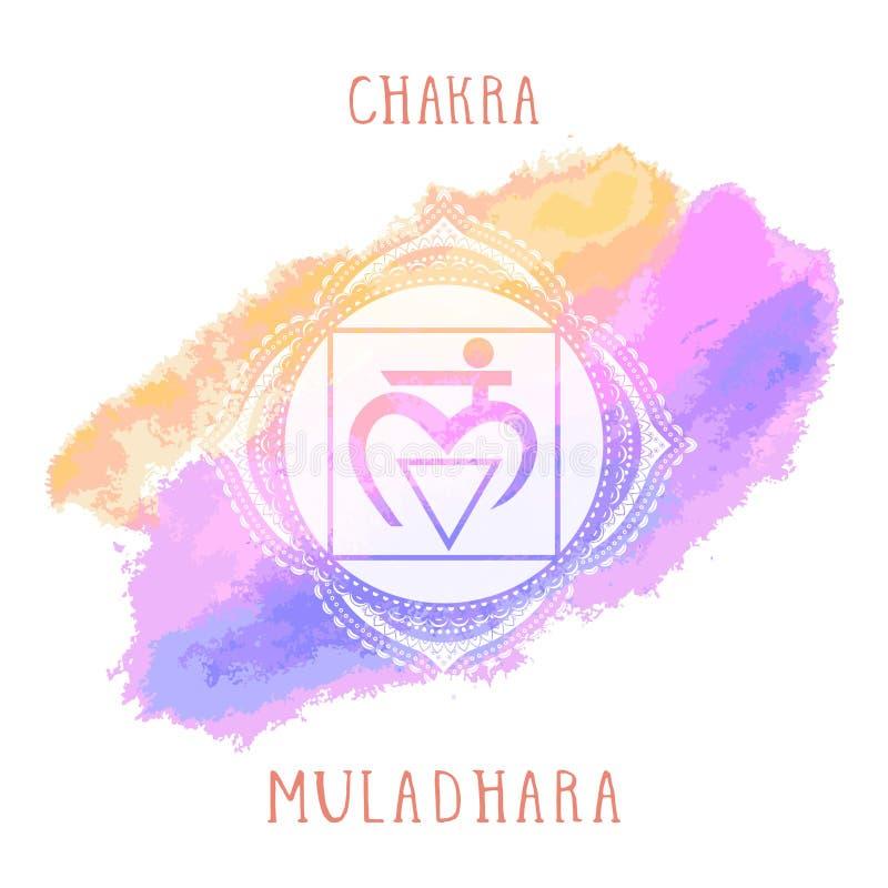 Vektorillustrationen med symbolet Muladhara - rota chakra- och vattenfärgbeståndsdelen på vit bakgrund royaltyfri illustrationer