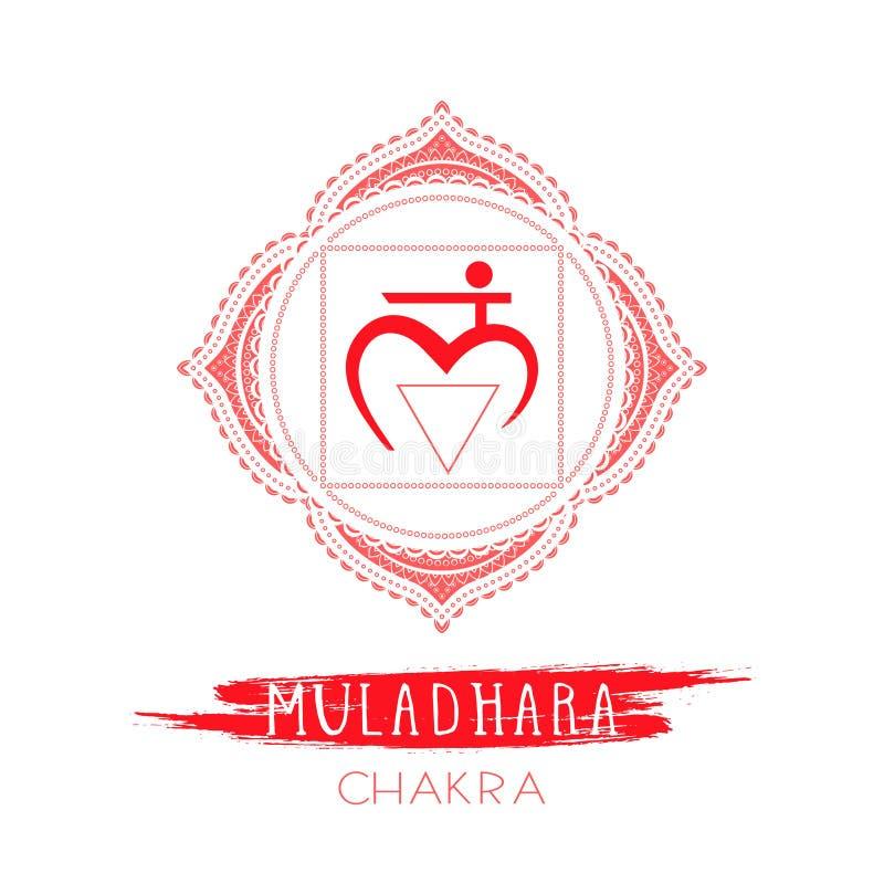 Vektorillustrationen med symbolet Muladhara - rota chakra- och vattenfärgbeståndsdelen på vit bakgrund vektor illustrationer