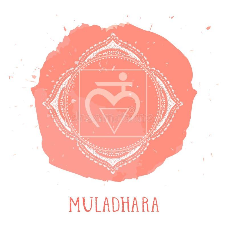 Vektorillustrationen med symbolet Muladhara - rota chakra- och vattenf?rgbest?ndsdelen p? vit bakgrund stock illustrationer