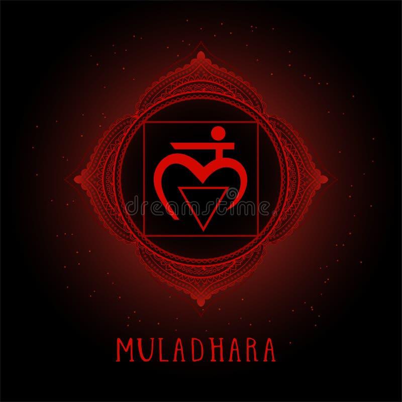 Vektorillustrationen med symbolet Muladhara - rota chakraen på svart bakgrund royaltyfri illustrationer