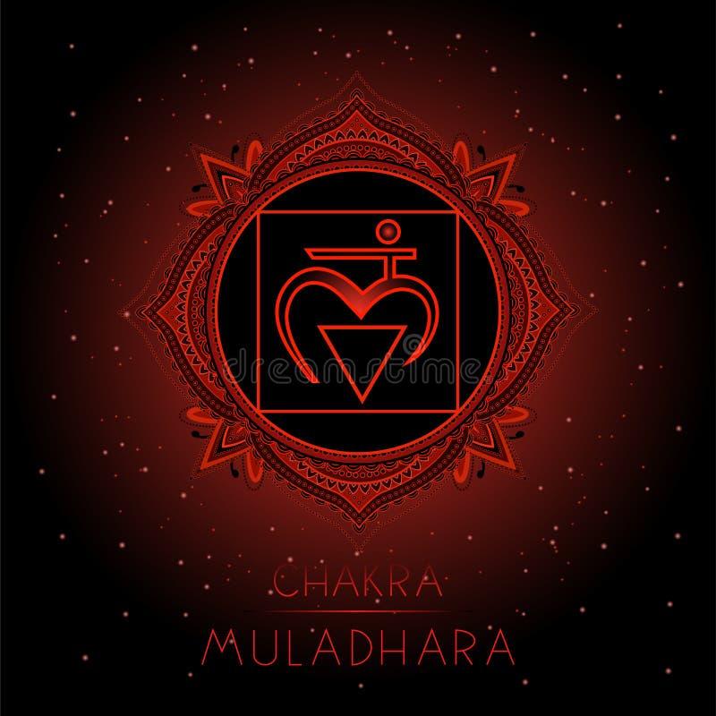 Vektorillustrationen med symbolet Muladhara - rota chakraen på svart bakgrund vektor illustrationer