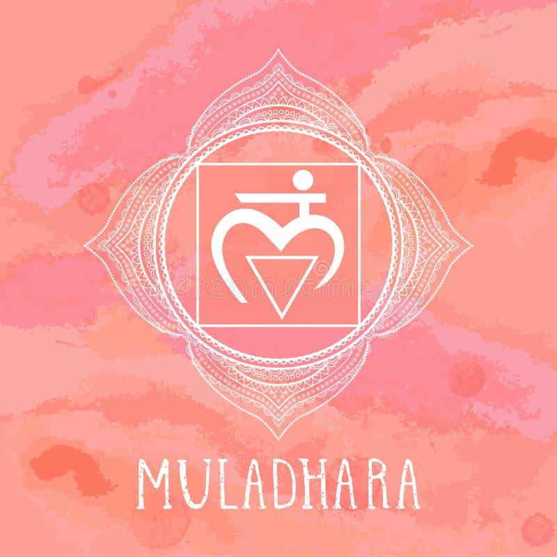 Vektorillustrationen med symbolet Muladhara - rota chakraen p? vattenf?rgbakgrund stock illustrationer