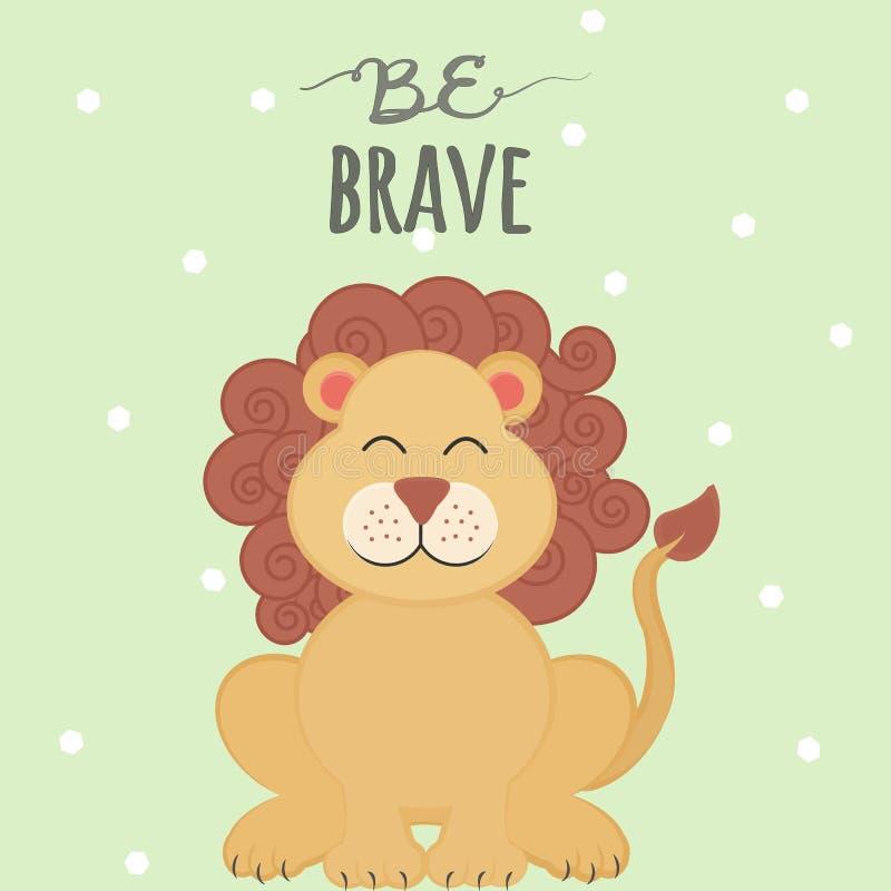 Vektorillustrationen med tecknade filmen som ler lejonet och märker, är modig på grön prickbakgrund arkivfoto