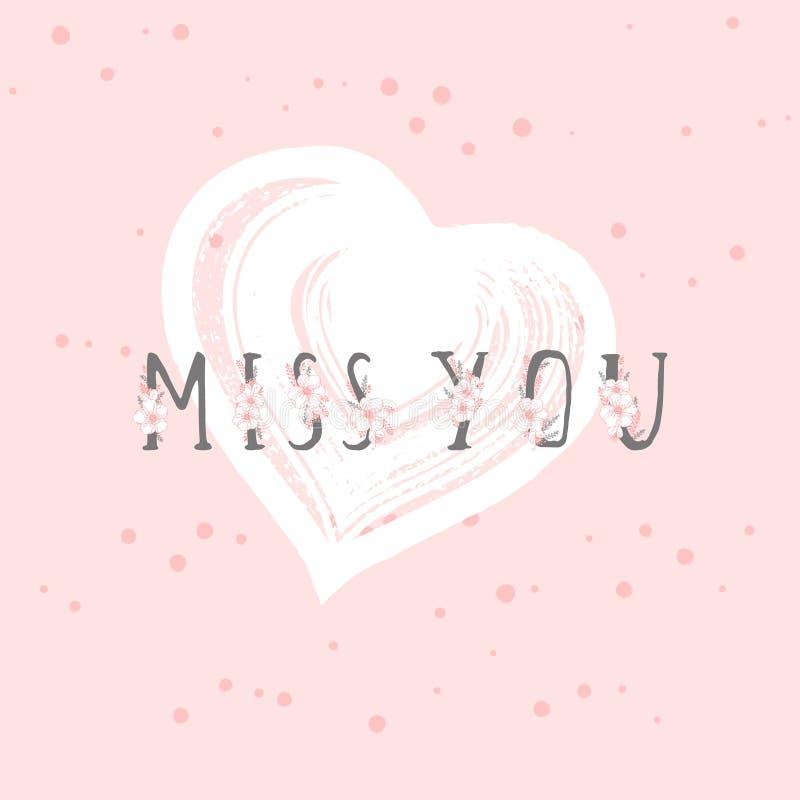 Vektorillustrationen med utdragen text för handen MISSA DIG och grungehjärta på rosa färgbakgrund royaltyfri illustrationer