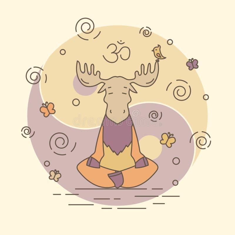 Vektorillustrationen - meditera älgen stock illustrationer