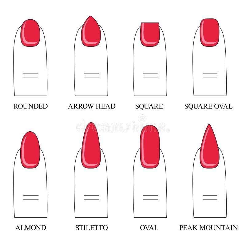 Vektorillustrationen, olika former, former av spikar manicure stock illustrationer