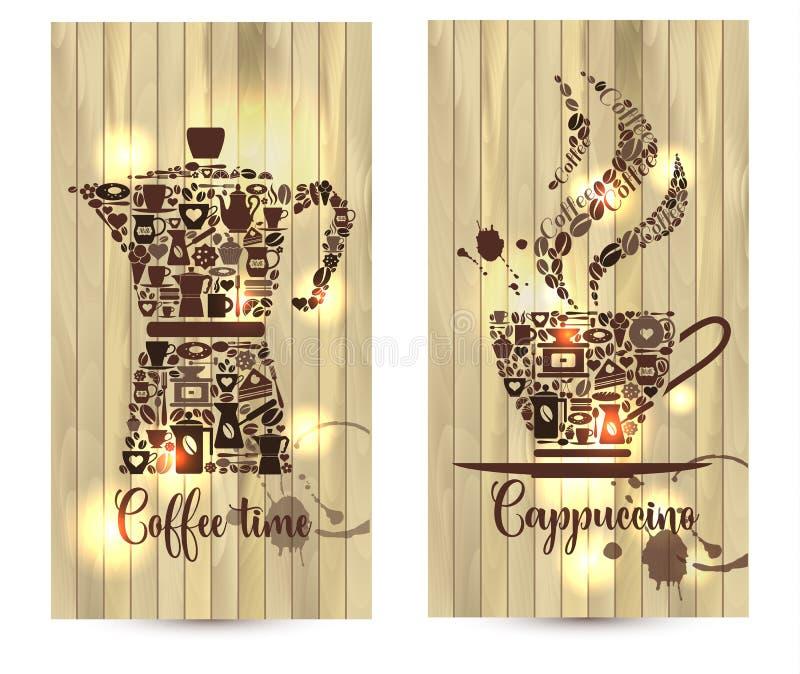 Vektorillustrationen på wood bakgrund av kaffe gällde former med kaffesymboler royaltyfri illustrationer
