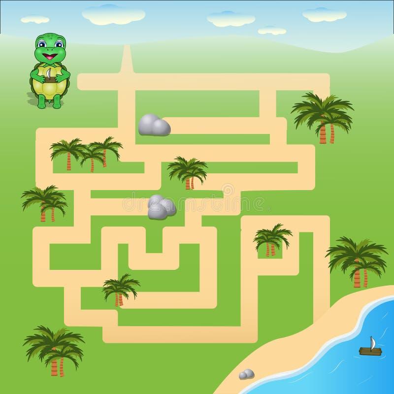 Vektorillustrationen ?r en rolig labyrintlek f?r ungar Hjälp sköldpaddan att finna stranden stock illustrationer