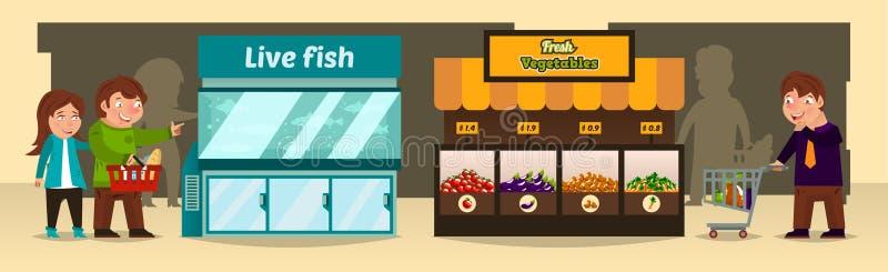 Vektorillustrationen, shoppare gör köp shoppar in Bänk av med nya grönsaker, ett akvarium med den levande fisken, vektor illustrationer