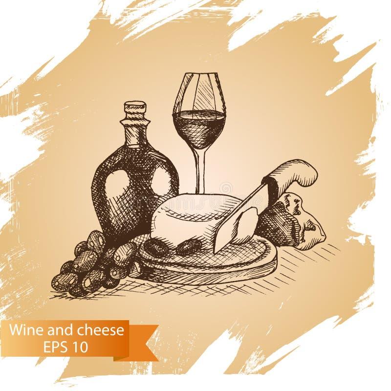 Vektorillustrationen skissar - ost och vin provolone cheddar, edam, cheddar, parmesan, camembert, mozzarella stock illustrationer