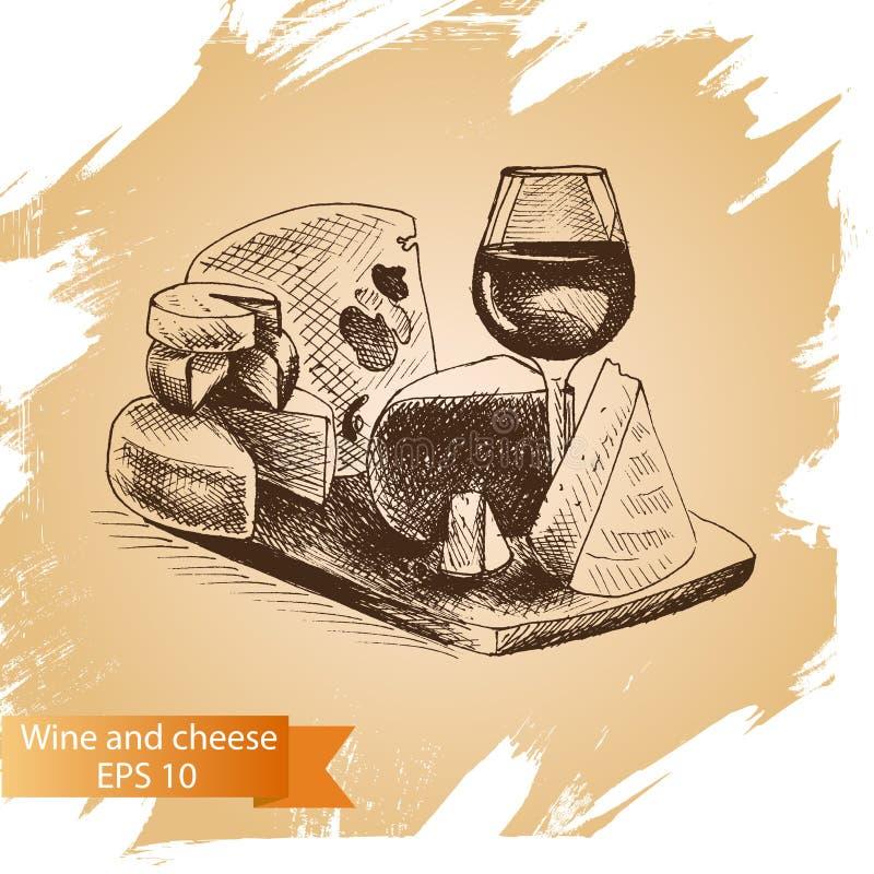 Vektorillustrationen skissar - ost och vin provolone cheddar, edam, cheddar, parmesan, camembert, mozzarella royaltyfri illustrationer