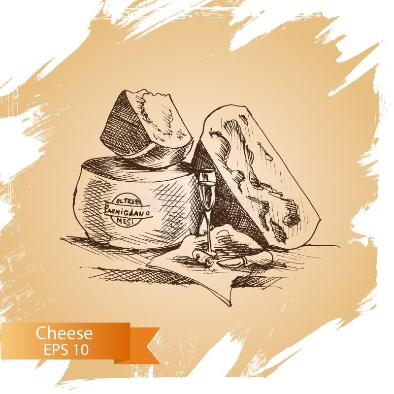 Vektorillustrationen skissar - ost Parmigiano cheddar, parmesan vektor illustrationer