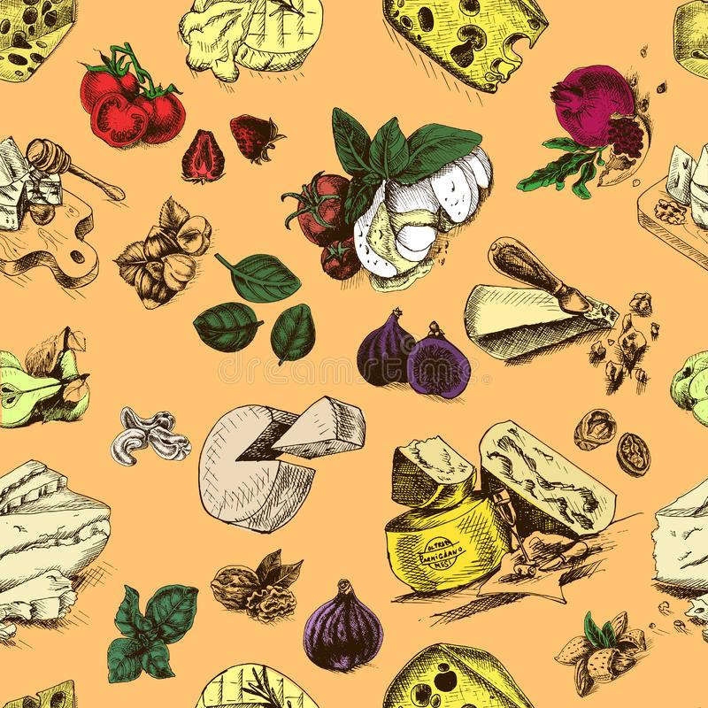 Vektorillustrationen skissar - ost provolone cheddar, edam, Parmigiano, cheddar, parmesan, camembert, brie, mozzarella stock illustrationer