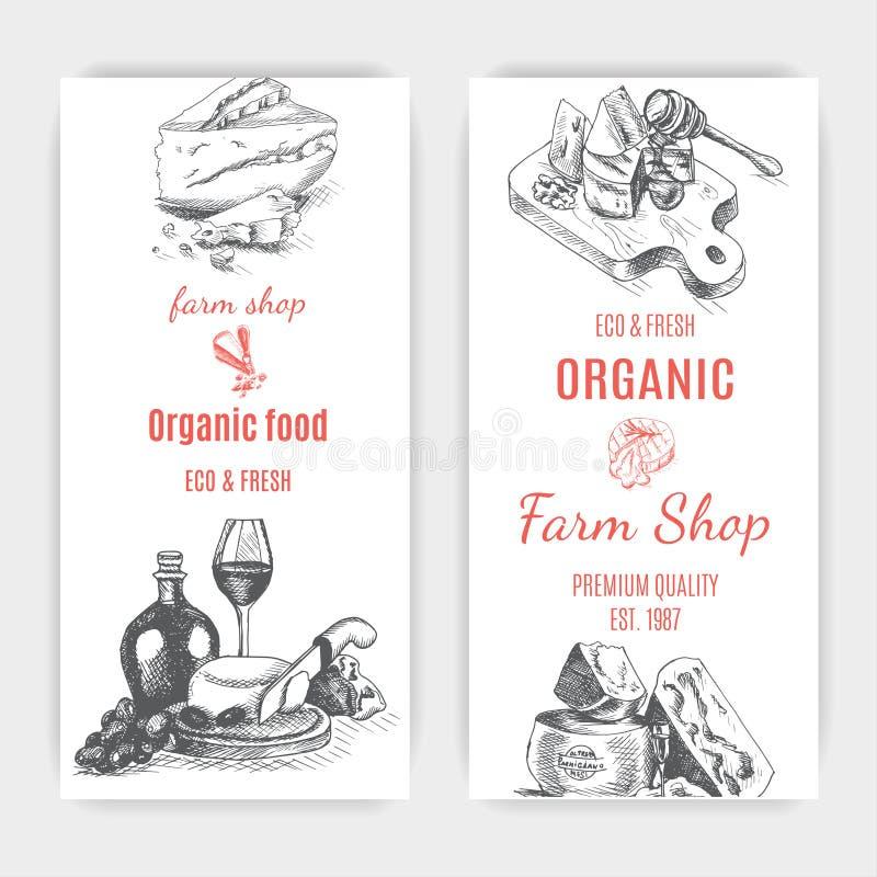 Vektorillustrationen skissar - ost provolone cheddar, edam, Parmigiano, cheddar, parmesan, camembert, brie, mozzarella royaltyfri illustrationer