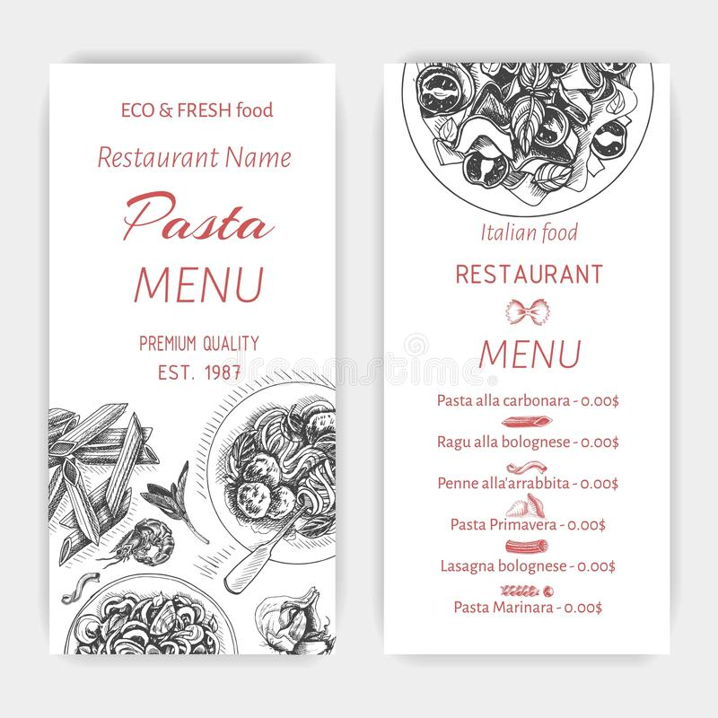 Vektorillustrationen skissar - pasta Restaurang för kortmenyitalienare Italan mat för baner vektor illustrationer
