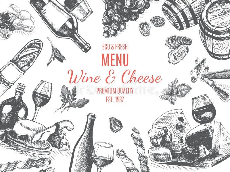 Vektorillustrationen skissar - vin och ost Kortmenyrestaurang tappningdesignmall, baner stock illustrationer