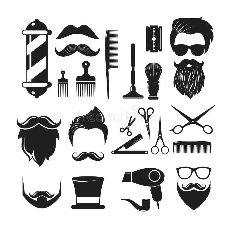 Vektorillustrationen ställde in av Barber Shop symboler Barberaren shoppar logobeståndsdelar, etiketter, emblem i tappningstil so royaltyfri illustrationer