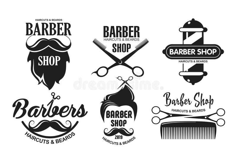 Vektorillustrationen ställde in av frisersalonglogoer, emblem och etiketter i tappningstil Emblem och logoer som isoleras på vit royaltyfri illustrationer