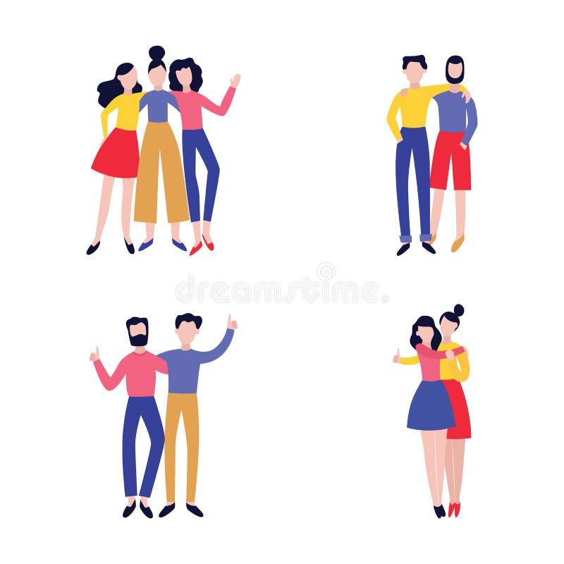 Vektorillustrationen ställde in av olika grupper av att krama för bästa vän royaltyfri illustrationer