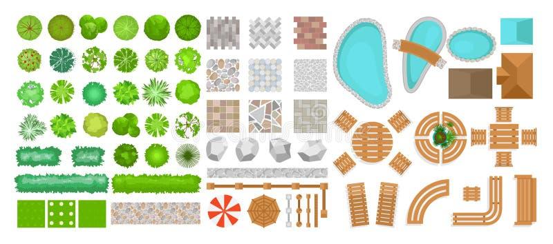 Vektorillustrationen ställde in av parkerar beståndsdelar för landskapdesign Bästa sikt av träd, utomhus- möblemang, växter och stock illustrationer