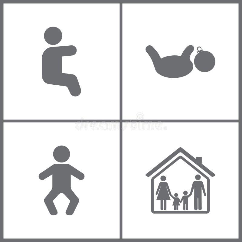 Vektorillustrationen ställde in kontorsförhållandesymboler Beståndsdelar av Baby, gravid, modern, barnet, familjen och den hem- s royaltyfri illustrationer