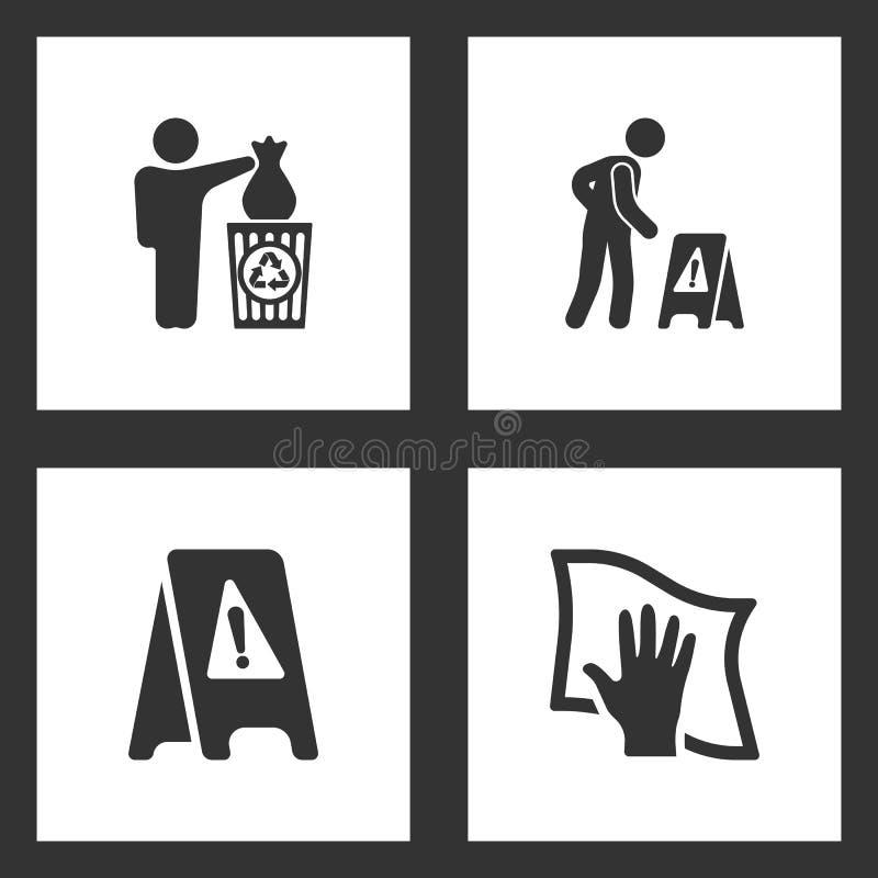 Vektorillustrationen ställde in rengörande symboler Beståndsdelar av mannen som kastar avskräde i facket, vått golv och gör ren m vektor illustrationer